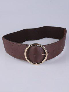 Round Pin Buckle Elastic Wide Belt - Coffee