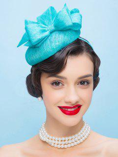 Bowknot Hairband Pillbox Hat - Lake Blue