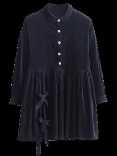 Bowknot Corduroy Babydoll Smock Dress - Purplish Blue S
