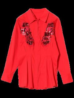 Camiseta Con Lentejuelas Rebordear - Rojo S