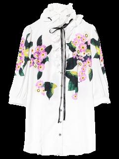 Chemisier Long Imprimé Floral à Volants  - Blanc M