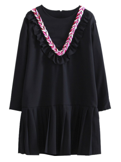 Frilled Braided Chevron Tunic Dress - Black S
