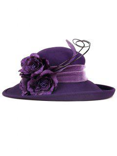 Feather Flower Strappy Church Hat - Purple