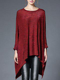 Oversized Batwing Sleeve High Low Knitted Top - Wine Red