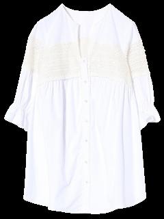 Shirt Empiècement En Dentelle Lâche - Blanc S