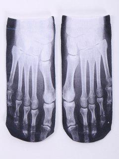 Calcetines Tobilleros Diseño Divertido Estampado Un Lado Pie Esqueleto 3D  - Blanco