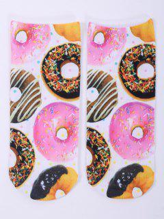 Calcetines Tobilleros Diseño Divertido Estampado Un Lado Donuts 3D - Blanco