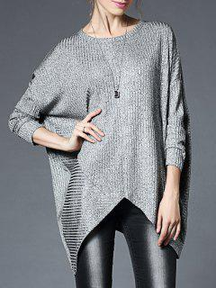 Oversized Ladder Graphic Asymmetric Knitted Top - Gray