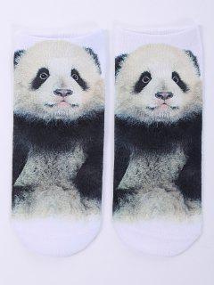 Calcetines Tobilleros Diseño Divertido Estampado Bebé Panda 3D - Blanco