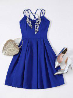 Flared Mini Cocktail Dress - Sapphire Blue S