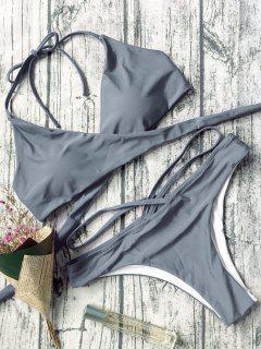 Double Side Crossover Bikini Swimwear - Gray S
