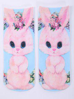 One Side 3D Cartoon Rabbit Printed Crazy Ankle Socks - Pink