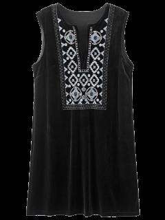 Velours Brodé Mini-robe Vintage - Noir S