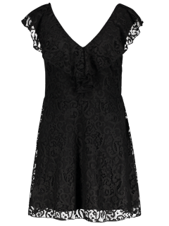 Ruffles V Neck Lace Dress - Black L