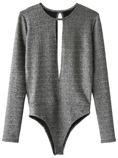 Skinny Cut Out Heathered Bodysuit - Gray S