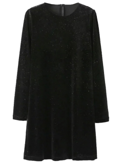 Glittered Mini Robe En Velours - Noir S