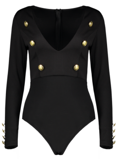 Long Sleeve Plunging Neck Bodysuit With Buttons - Black S