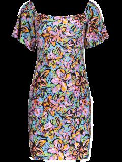 Manches Cloche Imprimé Off The Robe Asymétrique - Multicouleur S