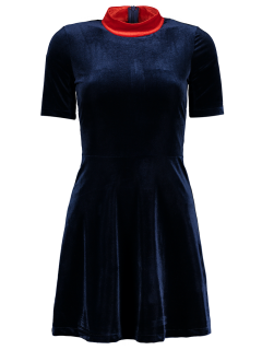 Velvet Mock Neck Skater Dress - Purplish Blue S