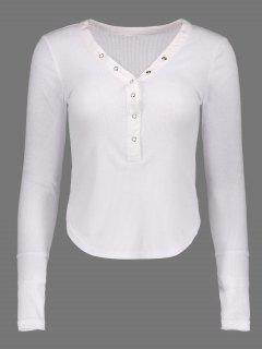 V Neck Fitted Buttoned Tee - White S