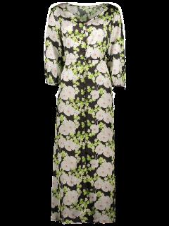 Robe Boutonnée A Motif Fleurs Imprimées - Noir Xl