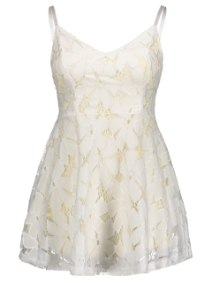 Fit And Flare Mini Lace Prom Dress - Off-white S