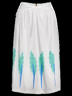 Printed Midi A-Line Skirt - White 2xl