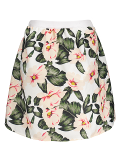 Falda Mini Línea Vertical Floral Cintura Alta - Verde M