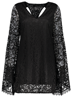 Bell Sleeve Plunge Neck Lace Dress - Black M