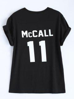 Curled Sleeve Letter Figure T-Shirt - Black Xl