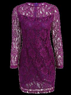 Vestido De Encaje Recortado De Manga Larga - Púrpura S