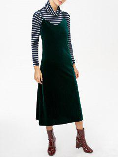 Side Slit Velvet Cami Dress - Blackish Green L