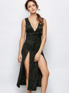 Low Cut Lace Plunge Empire Waist Prom Dress - Black S