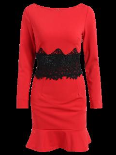 Long Sleeve Flounced Mermaid Dress - Red S