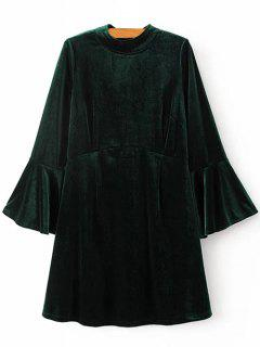 Cut Out Bell Sleeve Velvet Dress - Blackish Green S