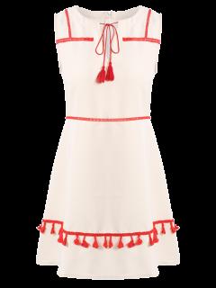 Tassel V Neck A Line Dress - Light Apricot Pink S