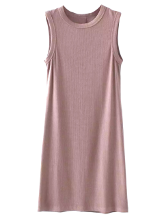 Bodycon Sleeveless Ribbed Dress - Pinkbeige
