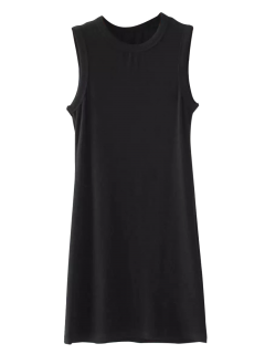 Bodycon Sleeveless Ribbed Dress - Black