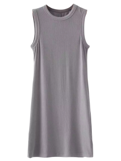 Bodycon Sleeveless Ribbed Dress - Gray