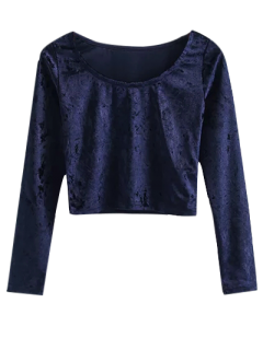 Vintage Scoop Neck Velvet Crop Top - Cadetblue S