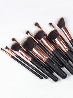 Set 11 Piezas Cepillos Maquillaje Nylon Y Bolsa - Marrón Oscuro