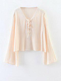 Lace-Up évider Blouse - Abricot S