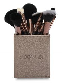 Set 15 Piezas Cepillos Maquillaje Y Sujetador Para Cepillos Cuadrado - Café