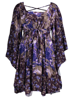 Tiny Floral Empire Waist Mini Dress - Purple M
