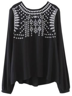 Back Tie Embroidered Blouse - Black L