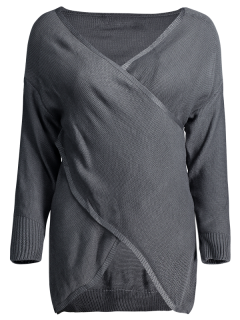 Crossover Pullover Sweater - Deep Gray S