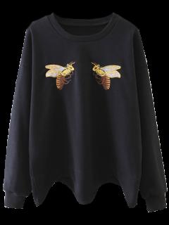 Bee Brodé Festonné Sweatshirt - Noir L