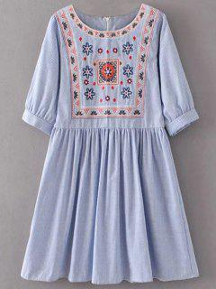 Striped Embroidered Smock Mini Dress - Light Blue M