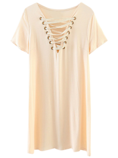 Lace-Up V Neck Dress - Off-white S