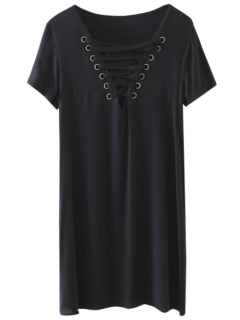 Lace-Up V Neck Dress - Noir S